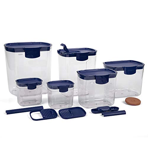 Progressive Prepworks ProKeeper 6 Piece Kitchen Clear Plastic Food Storage Organization Container Baking Canister Set, Blue