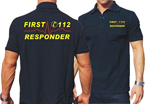 feuer1 'Polo Bleu Marine, First Responder 112 avec du Rythme Cardiaque XL Bleu Marine