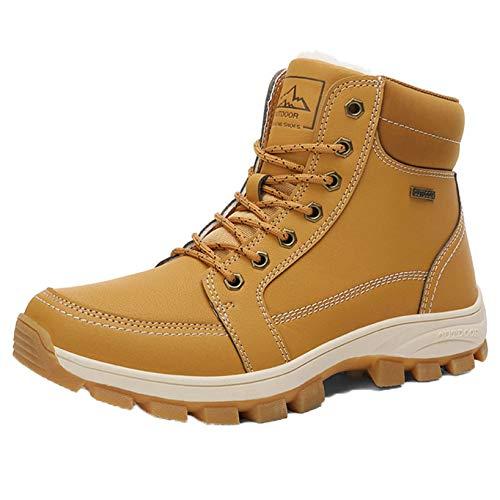 Botas de Tobillo para Hombre, Zapatos de Cuero con Cordones Resistentes al Agua al Aire Libre, Botas Cortas para Caballero Ligeras y Antideslizantes para Otoño Invierno