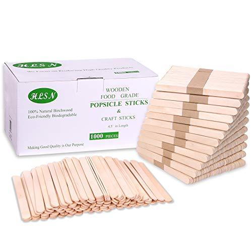 HLSN-4.5 inch Food Grade Popsicle Stick DIY Craft Stick Natural Birch Wood (1000)