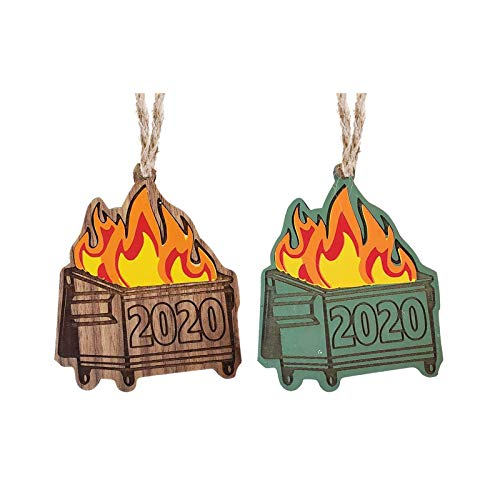 MOVERV 2020 2PC Dumpster Fire Wooden Christmas Ornament, Personalized Christmas Ornament,Good Gift,Unique Xmas Decoration (E)