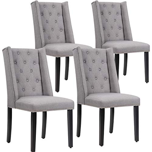 Vnewone Wood Dining Chairs Set of 4 Wooden Armless Accent Diner with Solid Legs Button Tufted Parsons Upholstered Fabric Nailhead Trim for Restaurant Home Kitchen Living Room, Grey