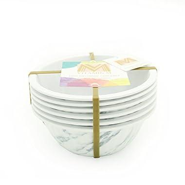 Vitamin M for Living! Unbreakable Reusable  Chic and Elegant  Ceramic Like Marble Pattern Melamine Bowls Set, Set of 6