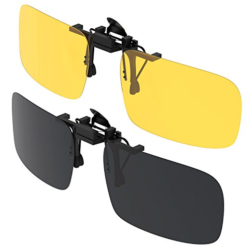 Sonnenbrille Clip, Gritin [2er Pack] Sonnenbrille Aufsatz Polarisationsbrille Clip mit Brillen-Etui - geeignet für Frauen und Männer