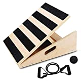Lovinouse Professional Wooden Slant Board, 5 Level Adjustable Ankle Incline Board, 450 Lb Capacity Safe Anti Skid Surface and Extra Side-Handle