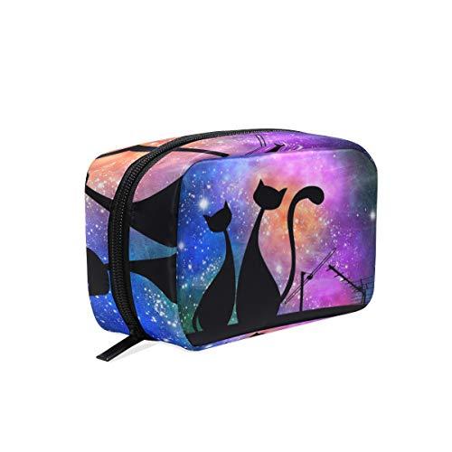 Mnsruu Trousse de maquillage portable Motif chat galaxie nébuleuse