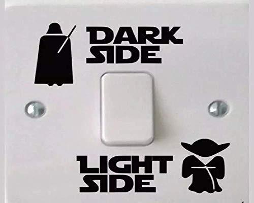 1 Set Light Side - Dark Side Vinyl Sticker für Lichtschalter zum Aufkleben, schöne Dekoration fürs Kinderzimmer, Fans oder für die Wand als Tatoo - Modell: Darth Vader & Yoda