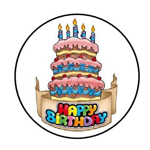 Special Pack 48 Happy Birthday Cake Party Envelope Seals Labels Stickers 1.2' Round #CUAS