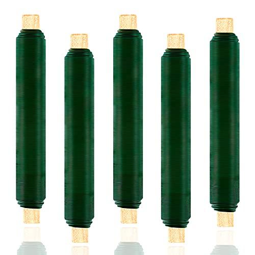 Maxee 5 Stück Blumenwickeldraht-Set, Anti-Rost, Bindedraht in grün auf Holzstab gewickelt, Stärke 0,65 mm, 35M