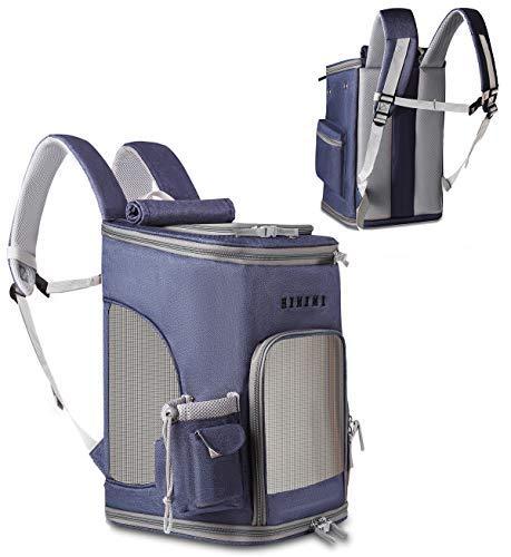 Las mochilas de viaje de mascotas llevan cremalleras, pueden doblarse, adaptarse a perros, gatos, conejos, ratones, etc., animales de viaje a pie, campamentos, actividades al aire libre (Azul oscuro)