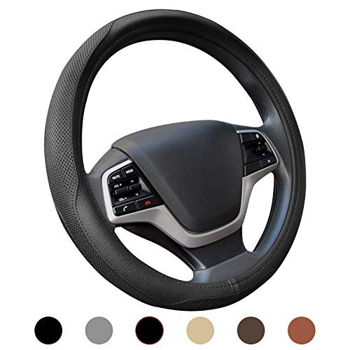 Ylife Microfiber Leather Car Steering Wheel Cover, Universal 15 inch Breathable Anti Slip Auto Steering Wheel Covers (Black)