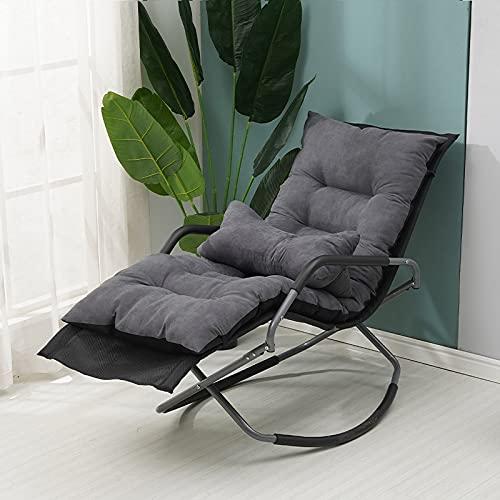 QAZW Patio Chaise Longue Mecedora Silla para Tomar El Sol Reclinable Cama para Dormir Movible,Black+Mat