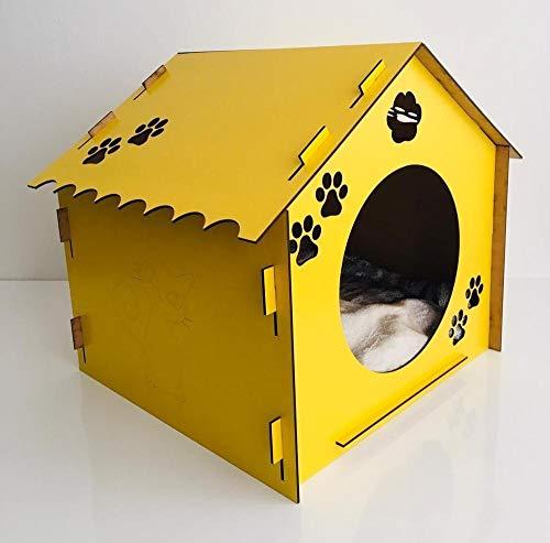 weichuang Casa de mascotas decorativa de madera para gatos con almohada (color: amarillo, tamaño: L)
