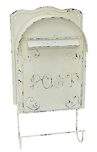 Briefkasten Metall verzinkt Weiß Shabby mit Zeitungshalter Vintage Landhaus Chic Antique Postbox Letterbox Zink H60x30cm VH84282