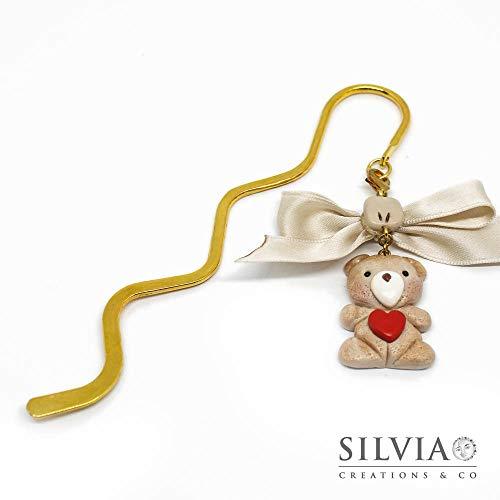 Segnalibro bacchetta oro con orsetto beige e cuore rosso