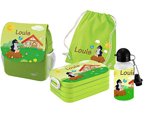 Mein Zwergenland | Personalisertes Kindergartenrucksack-Set | Kinderrucksack mit Name | Lunchbox Maxi mit Name | Turnbeutel aus Baumwolle mit Name | Personalisierte Trinkflasche | Grün | Maulwurf