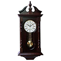 Wall Clocks: Grandfather Wood Wall Clock with Chime. Pendulum Wood Traditional Clock. Makes a Great Housewarming or Birthday Gift.. vmarketingsite Wall Clock Chimes Every Hour with Westminster Melody