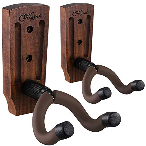 Guitar Wall Mount, Guitar Mount 2 Pack, Black Walnut Guitar Hanger with Screws, Guitar Hook Stand Accessories for Acoustic Electric Guitar Bass, Guitar Wall Hanger, Guitar Holder for Banjo