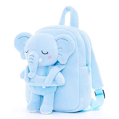 Lazada Elephant Kids Backpacks with Stuffed Animal Plush Toy Girls Backpacks Light Blue 9.5 Inches 2 Year and Up