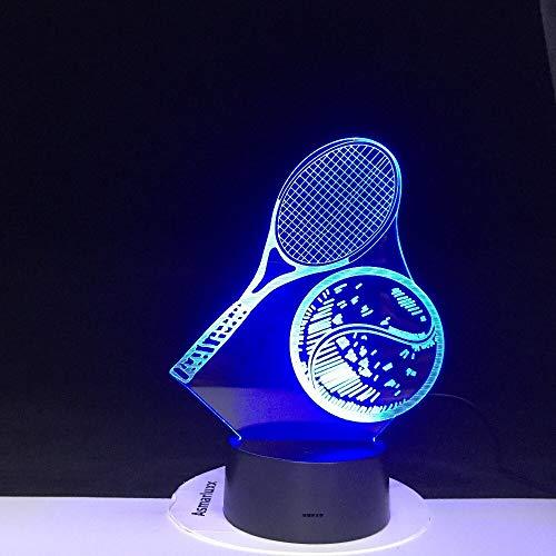 Raqueta de tenis Campeón de deportes de pelota Federer Nadal Acrílico 3D Luz de noche LED Ventiladores para niños Dormitorio Mesita de noche Oficina Club USB Lámpara de mesa Regalo para niños Dec