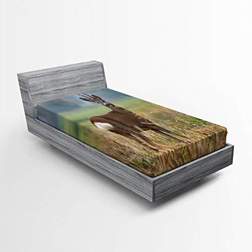 ABAKUHAUS Caza Sábana Elastizada, Ciervos de la Fauna, Suave Tela Decorativa Estampada Elástico en el Borde, 90 x 200 cm, Multicolor