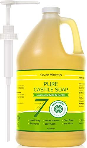 EWG Verified Castile Soap - 1 Gallon - No Palm Oil - Unscented Mild & Gentle Liquid Soap For Sensitive Skin, Baby Wash & Your Own DIY Recipes - Non GMO & Vegan Formula with Organic Carrier Oils