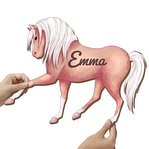 Elbeffekt Pferde Mädchen Geschenk aus Holz - personalisierbares Geschenk - Zimmer Deko Mädchen Teenager Jugendzimmer Deko Mädchen Wandtattoo Pferd - schenke individuell aus Echtholz