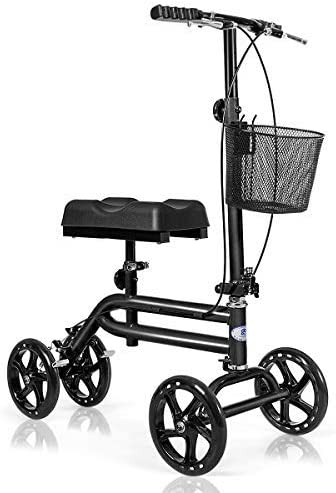 new arrival Giantex All Terrain Steerable Knee Scooter, Medical Knee Walker for Foot Injuries Ankles Surgery, Height sale Adjustable Weight Capacity 350lbs, Orthopedic Seat Pad, Heavy Duty Crutches new arrival Alternative (Black) sale