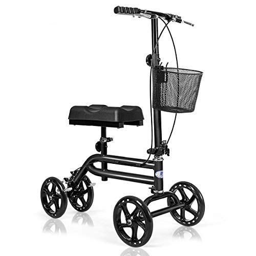 Giantex All Terrain Steerable Knee Scooter, Medical Knee Walker for Foot Injuries Ankles Surgery, Height Adjustable Weight Capacity 350lbs, Orthopedic Seat Pad, Heavy Duty Crutches Alternative (Black)