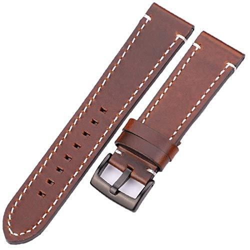 MOLUO Reloj Venda del Cuero Genuino de la Correa de los Hombres Manual Grueso Correas de Reloj de Acero Inoxidable Accesorios Hebilla (Band Color : Dark Brown Black, Band Width : 18mm)