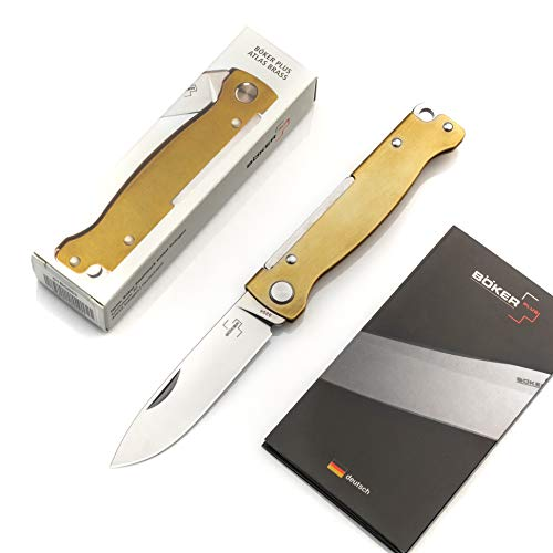 BÖKER PLUS® Atlas Messer - kleines Slipjoint Taschenmesser - Klappmesser mit Metall Griff - EDC Vollmetall Messer - Vintage Sandvik Messer (Taschenmesser Messing)