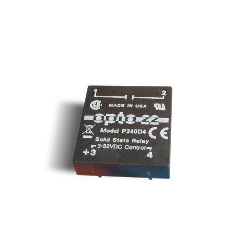Opto 22 P240D4 P Model DC Control Solid State Relay, 240 VAC, 4 Amps, 85 One Amps Cycle Surge