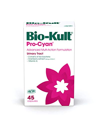 Bio-Kult Pro-Cyan Advanced 2 Strain Multi-Action Bacterial Formulation Targeting Urinary Tract with Cranberry Extract and Vitamin A – Pack of 45 Capsules Pack of 1 FH1254