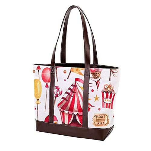 Leichte Strap Circus Elemente Einkaufstasche Geldbörse Shopping für Mutter Frauen Mädchen Damen Student Handtaschen Umhängetaschen