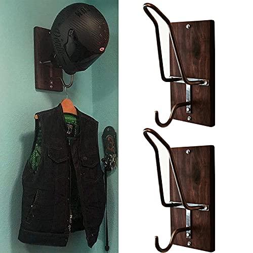 123 Life オートバイのヘルメットラック&ジャケットフック、オートバイのヘルメットホルダー、ジャケットハンガー、コート帽子キャップ用のオートバイのアクセサリーヘルメットホルダー (2PCS)