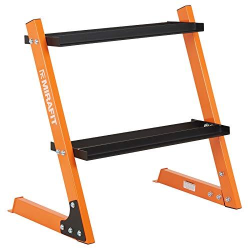 MiraFit Rastrelliera per manubri da 150 kg a Due Livelli - Arancione
