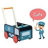 labebe Lauflernwagen Holz, 2-in-1 Verwendung als Laufwagen, Blaues Polizeiauto Lauflernhilfe für...