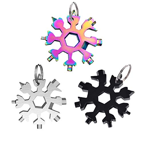 20-in-1 Snowflake Multi Tool, Stainless Steel Multitool Hex Wrench Screwdriver Allen Wrench/Bottle Opener/Allen Wrench/Ring Spanner/Bicycle Wrench, Men's Gift, Christmas gift (3pack, Mixed color)