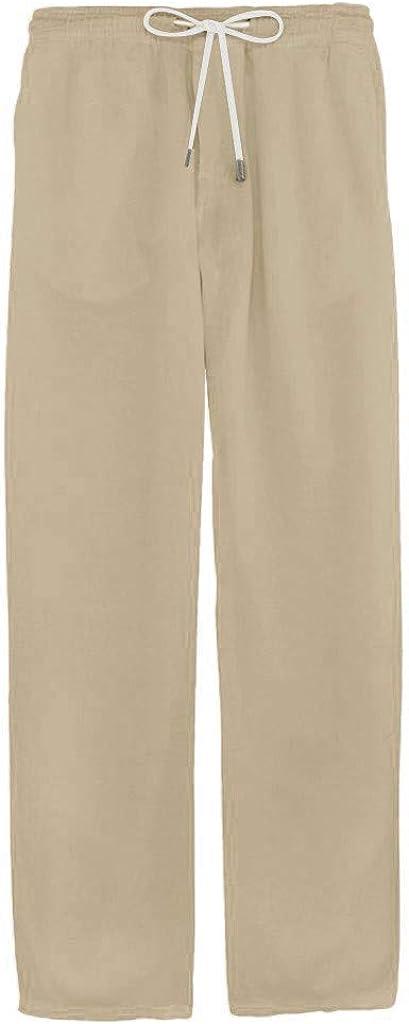 DORIC Mens Casual Linen Pants Elastic Drawstring Waist Summer Loose Fit Long Beach Yoga Pants