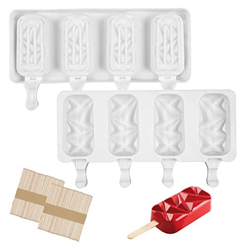 PanderHecop Popsicle Molds Set of 2, Silicone Ice Pop Molds 4 Cavities Homemade Popsicle Maker Ice Cream Mold Diamond Shaped with 100 Wooden Sticks for DIY Ice Cream
