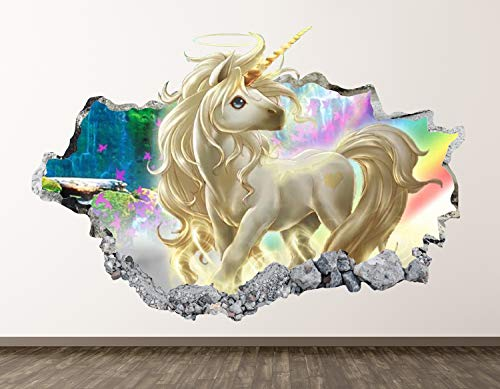 West Mountain Unicorn Wall Decal Art Decor 3D Smashed Kids Fantasy Sticker Mural Nursery Girl Gift BL05 (22' W x 14' H)