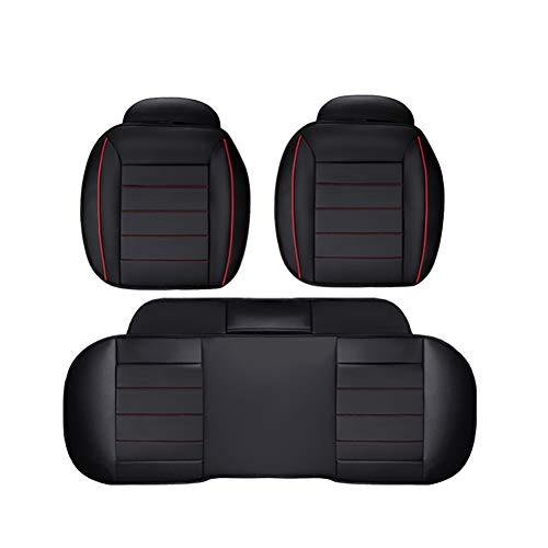 車用 カーシートクッション 座席シート カー用品 カーシートPUレザー 車の座布団 超通気性 圧力分散 運転 クッション 柔らかい 滑り止め 弾性 座布団 黒 (前座席用2枚+後部座席用1枚)