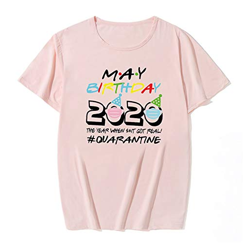 Camiseta para Mujeres y Hombres - Cumpleaños 2020 Camiseta The One Where I M Quarantined - Camiseta de Manga Corta con Cuello Redondo Novelty,Pink 3,XL