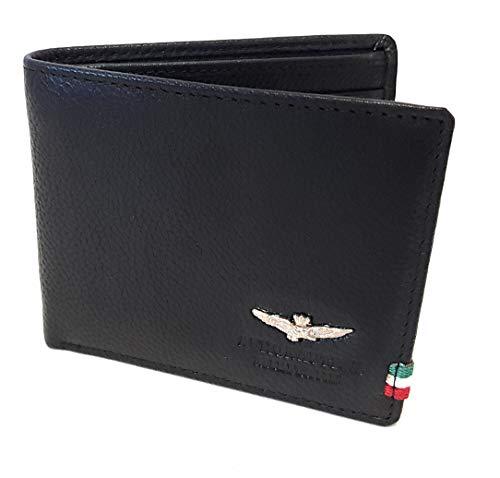 Aeronautica Militare Linea'Flag' Wallet Man with Card Holder AM 100 Black 11x9x2 cm