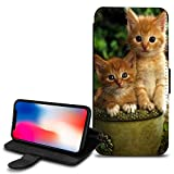 Cute Cats Design PU Leather Wallet Case Cover For Various