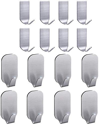 FOTYRIG Self Adhesive Hooks Stick on Hooks Sticky Hooks Heavy Duty Wall Hangers for Kitchen Bathroom Office Closet - Waterproof, No Drill Glue Needed-16 Packs