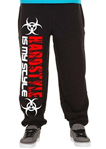 Hardstyle is My Style Männer und Herren Jogginghose | Hardcore Musik Techno Gabber Geschenk | M2 (Schwarz-Druck Rot, M)