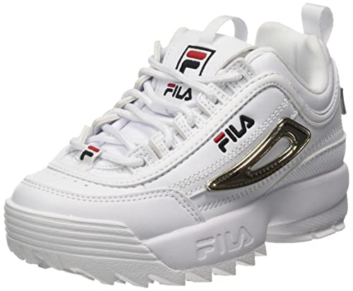 FILA Disruptor M kids zapatilla Unisex niños, blanco (White/Gold), 33 EU