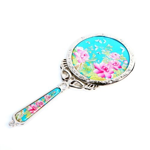 Mother of Pearl Princess Pink Peony Flower Design Sky Blue Round Stainless Steel Cosmetic Makeup Hand Mirror by Antique Alive