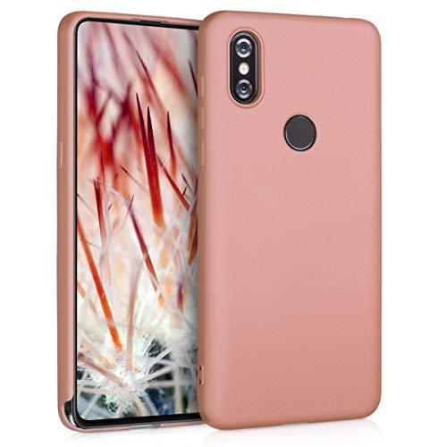 kwmobile Funda Compatible con Xiaomi Mi Mix 3 - Carcasa móvil de Silicona - Protector Trasero en Oro Rosa Metalizado